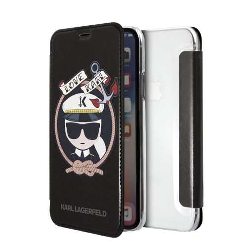 KARL LAGERFELD Karl Sailor case for iPhone X/XS, flip case, PU leather, svart