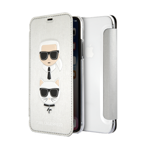 KARL LAGERFELD Karl and Choupette case for iPhone X/XS, flip case, embossed print, silver