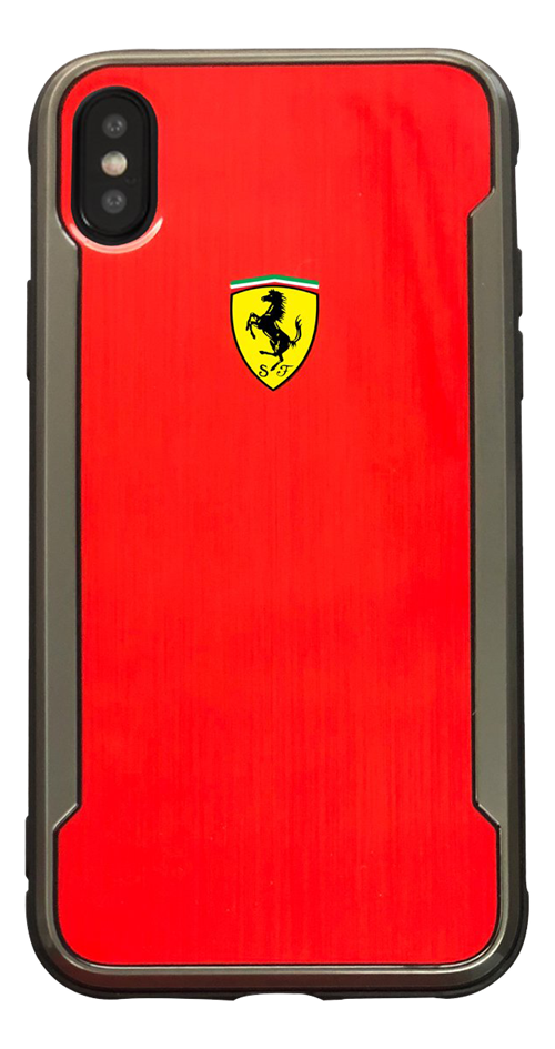 Ferrari Dual Material Hard Case Rubber Frame Case For Apple iPhone X/XS, red