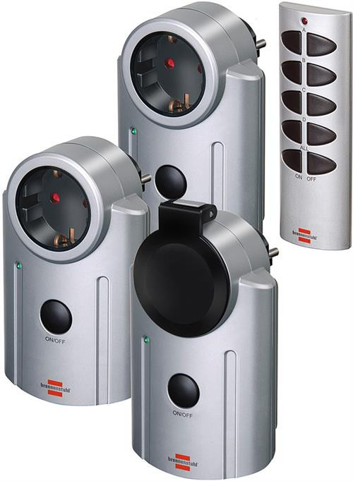 Brennenstuhl Primera-Line, fjernbetjening switches, CEE 7/4-udtag CEE 7/7-tilslutning, børnesikret, 25m rækkevidde, fjernkontrol, 230V, 3-pack, sølv/sort