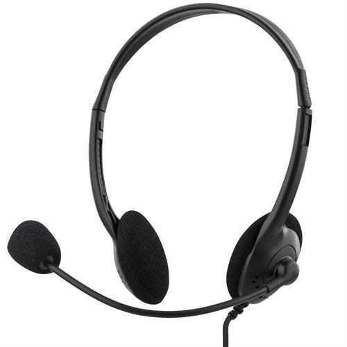 DELTACO headset, volumenkontrol på kablet, 2m kabel, 2x3,5mm, sort