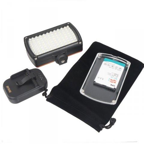LED Kamera Kvalitets lampe. Med opladeligt batteri & lader. 96 LED pærer. 850 lux