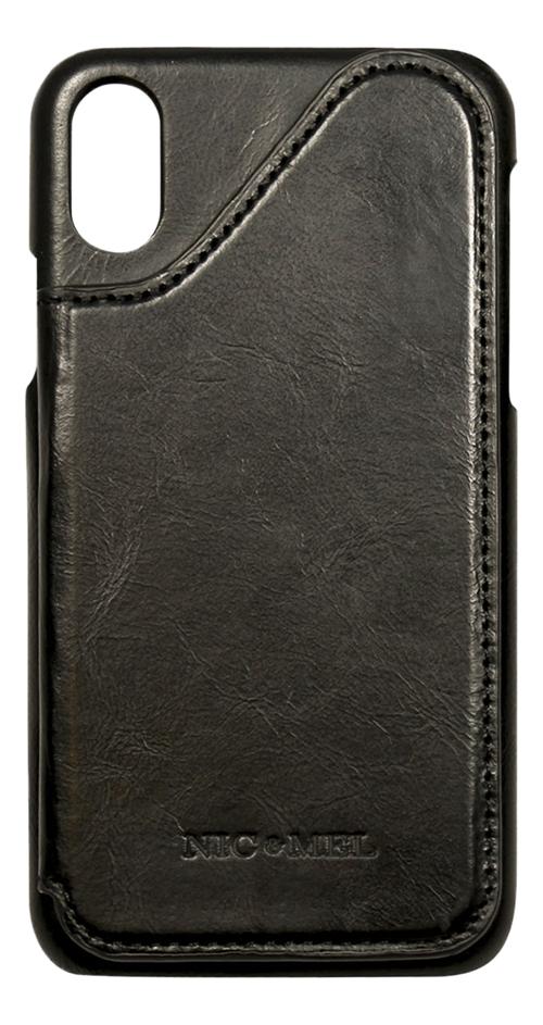 Nic & Mel Corey Leather Phone Wallet, genuine leather, for Apple iPhone X/XS, black