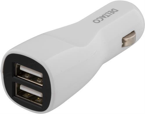 DELTACO billader, 2.1A, 2x USB Type A, 12-24V DC input, hvid