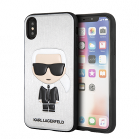 KARL LAGERFELD Ikonik Karl case for iPhone X/XS, raised print, silver