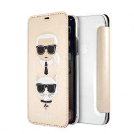 KARL LAGERFELD Karl and Choupette case for iPhone X/XS, flip case, embossed print, gold
