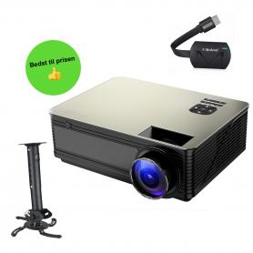 LED HD Projektor 5000 lumens. Inklusiv Loftophæng og Mirascreen.Værdi 748 kr.