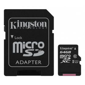 Kingston 64GB microSDXC Class 10 UHS-I 45MB/s Read, incl. SD Adapter
