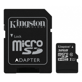 Kingston Canvas Select microSDHC card, 32GB, UHS-I Class 10, incl. SD card adapter, black