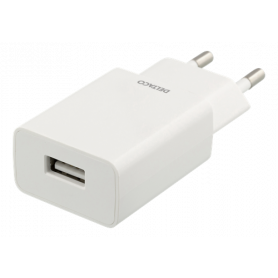 DELTACO Wall Charger 100-240V to 5V USB, 1A, 5W, 1xUSB-A Port, White