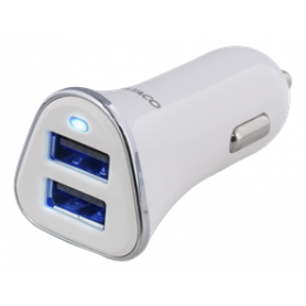DELTACO car charger, 3,4A, 2xUSB Type A, 12-24V DC input, white/silver