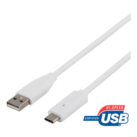 DELTACO USB 2.0 Cable, Type C - Type A ma, 2m, white