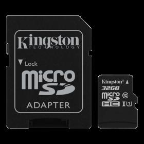 Kingston 32GB microSDHC Class 10.  Hurtigt kort beregnet til action kamera