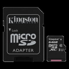 Kingston 64GB microSDXC Class 10. Hurtigt kort beregnet til action kamera