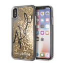 KARL LAGERFELD Liquid Stars Glitter case for iPhone X/XS, gold glitter, transparent