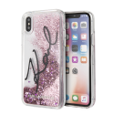 KARL LAGERFELD Liquid Stars Glitter case for iPhone X/XS, pink glitter, transparent