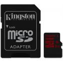 Kingston 32 GB Micro sd kort. Med ekstra hurtigt skriv særlig godt til 4K og 120 fps. Super kort til Action kamera.