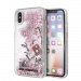 KARL LAGERFELD Liquid Glitter case for iPhone X/XS, pink glitter, iconic patterns, transparent