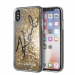KARL LAGERFELD Liquid Stars Glitter case for iPhone X/XS, gold glitter, transparent