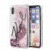 KARL LAGERFELD Liquid Stars Glitter case for iPhone X/XS, pink glitter, transparent