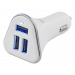 DELTACO car charger, 5,2A, 3xUSB Type A, 12-24V DC input, white/silver